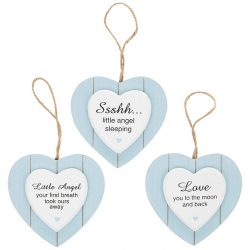 Blue Loveheart Baby Plaque