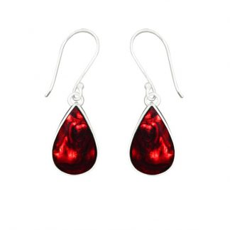 Teardrop Earrings - Red Shell