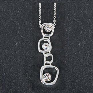 Silver Plated Drop Gems Pendant