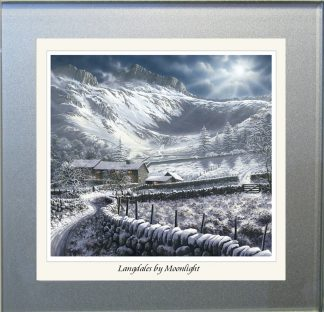 Langdales by Moonlight Glass Coaster