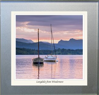 Photographic Glass Coaster - Langdales from Windermere