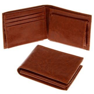 Mens Leather Wallet - Tan 10x12