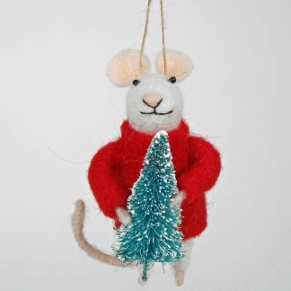 Christmas Felted Mouse with Tree