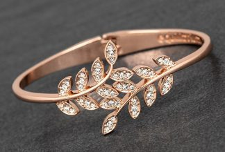 Meeting Leaves Diamante and Rose Gold plated Bracelet