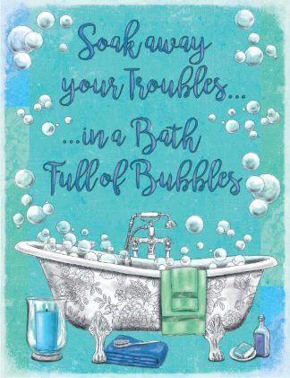 'Bubble Bath' Metal Wall Sign