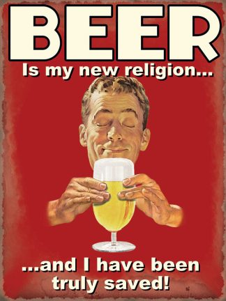 'Beer new Religion' Metal Wall Sign