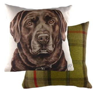 Chocolate Labrador Tartan backed Large Cushion