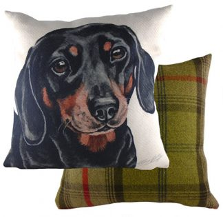 Daschund Tartan backed Large Cushion
