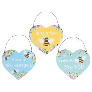 Bee Happy Hanging Heart Plaque