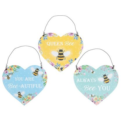 Bee Happy Hanging Heart Plaque