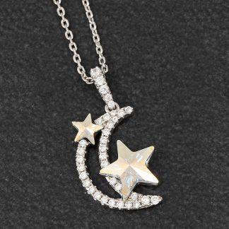 Celestial Moon Star Necklace Clear