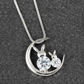 Country Bunnies on Moon Necklace