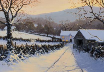 Winters Eve Original Oil Painting